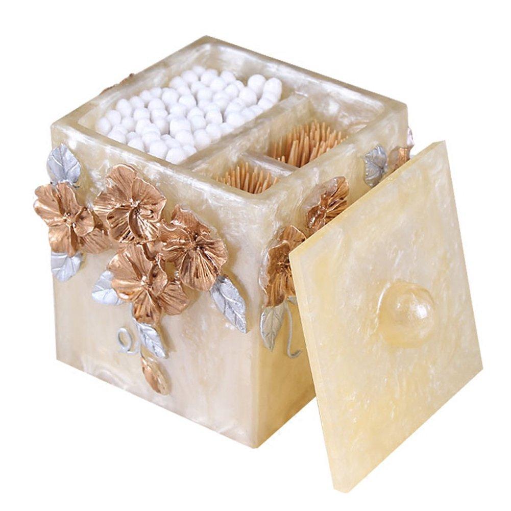 Q-Tip cotton swab Storage Box with Lid, Cotton Ball Swab Holder Cotton Bud Storage Box ,Toothpicks Case Dispenser Storage Organizer Box (Gold) by LUANT