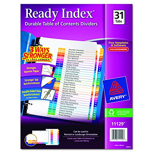 Avery Contents Dividers Multi Color 11129