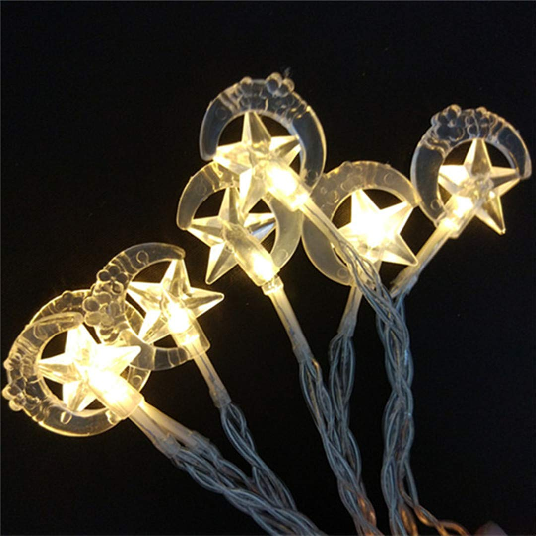 BGFHDSD Moon Star Fairy 10M 100 Bulbs Guirlande Lumineuse LED String Lights Wedding Christmas Decoration Garland Outdoor Lighting Warm White 110V US Plug by BGFHDSD (Image #1)