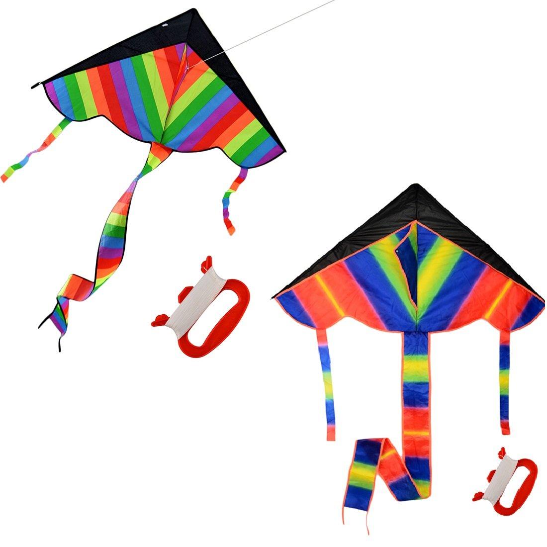 Foxom 2Pcs Arcobaleno Aquilone per Bambini e Adulti, Grande Aquilone e con 50m / 164 piedi Aquilone corda …