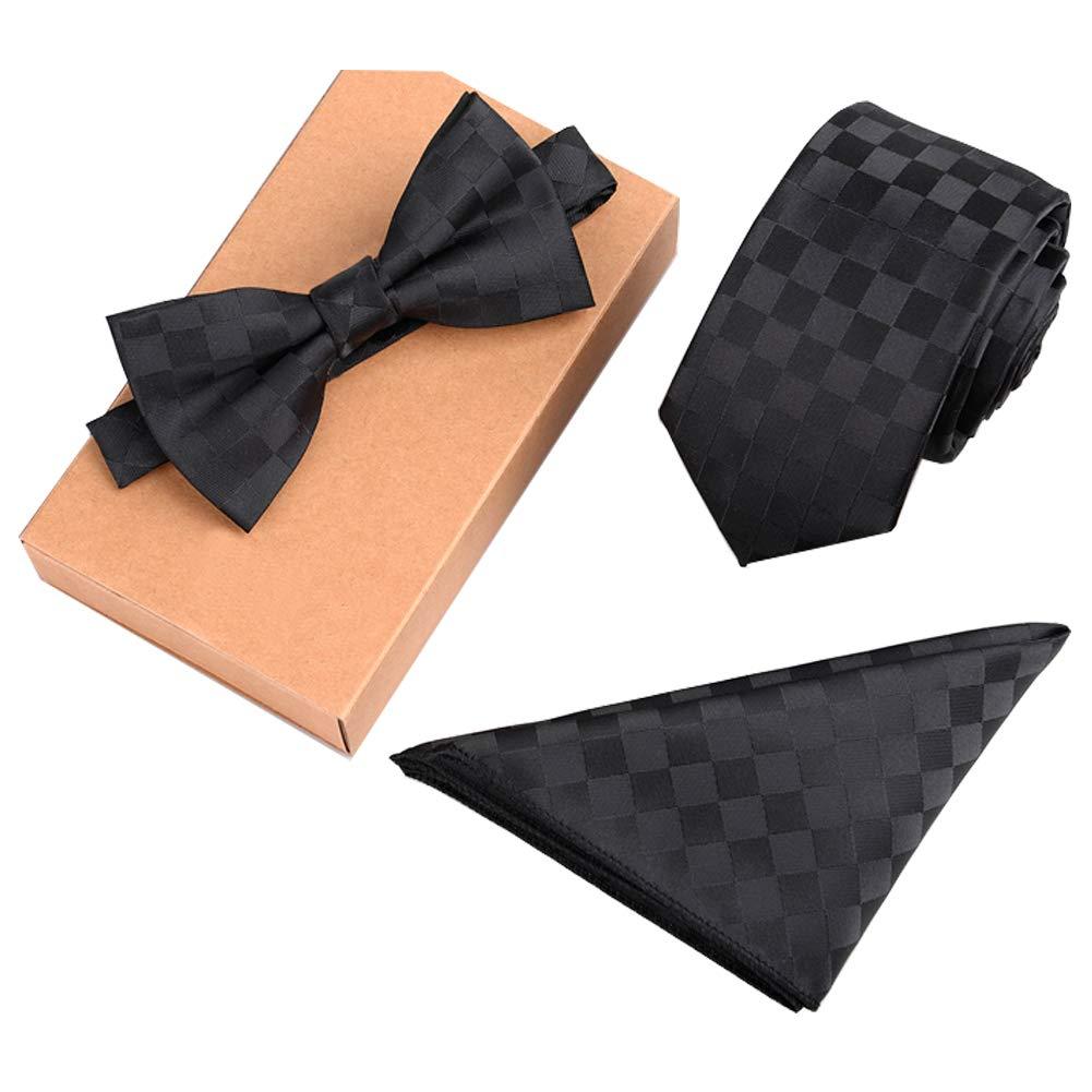 Lanburch Fashionable Premium Formal/Informal Ties Set, Necktie/Bow Tie/Pocket Square for Mens/Boys, Black Plaid
