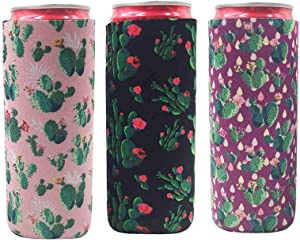 3 Pack Slim Can Cooler,Cute Neoprene Can Cooler Sleeves Fits for 12oz Tall Skinny Cans like White Claw,Red Bull,Spiked Seltzer,Michelob Ultra and Beer Beverage Holders/Hugger/Huggie/Insulator