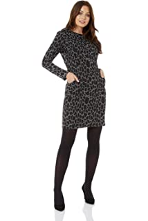 18071be77b8f Roman Originals Women Animal Print Pocket Dress - Ladies Leopard Print Dress  - Long Sleeve Knee…