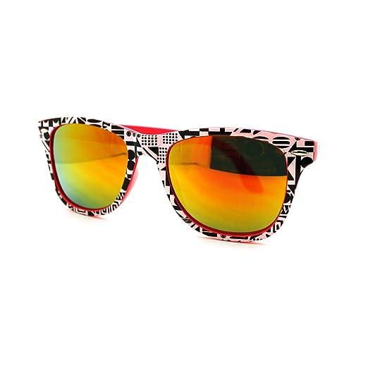 a50cb9a749c Amazon.com  Pink Aztec Print Square Sunglasses Orange Mirror Lens ...