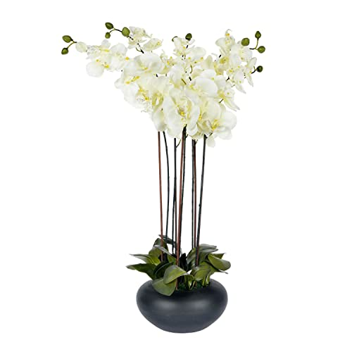 Tall flower arrangements for tables amazon homescapes large oriental style cream orchid with silk flowers in black round planter pot 79 cm mightylinksfo