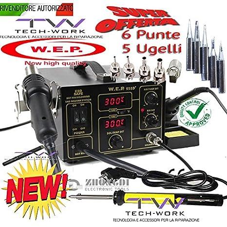Estación soldadura desoldar Digital Aire Caliente SMD Soldador estaño 852d +: Amazon.es: Electrónica