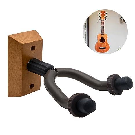 Guitarra percha soporte de pared pantalla gancho para colgar con base de madera para guitarras eléctricas