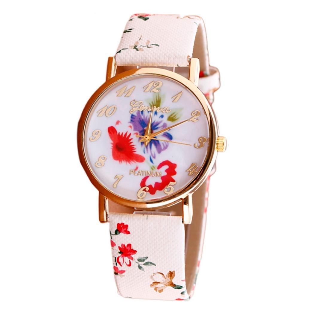 START Fashion Women Elegant Flower Leather Band Analog Quartz Vogue Watches-Red