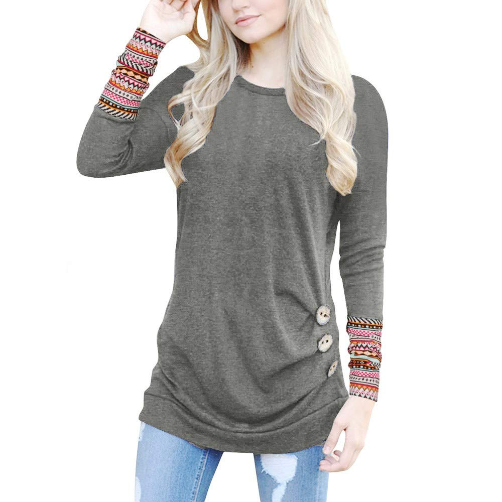 Sunyastor Women Shirt, Fashion Round Neck Long Sleeve Sweatshirt Loose Button Trim Blouse Patchwork Tunic T-Shirt