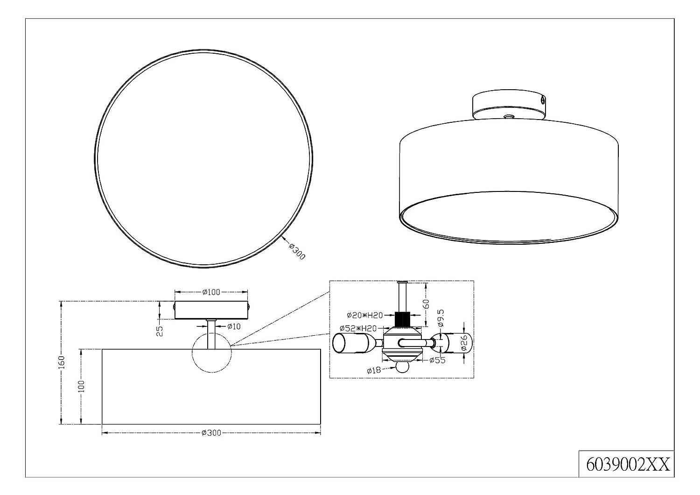 H:32,0cm IP20,Interrupteur de cordon max.40,0 W Tissu Corps: metal TRIO Noir Nickel mat /Ø:20,0cm Lampe de table Hotel 1xE14