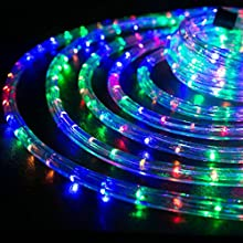 "WYZworks 100 feet 1/2"" Thick Multi-Color RGB Pre-Assembled LED Rope Lights with 10', 25', 50', 150' option - Christmas Holiday Decoration Lighting 