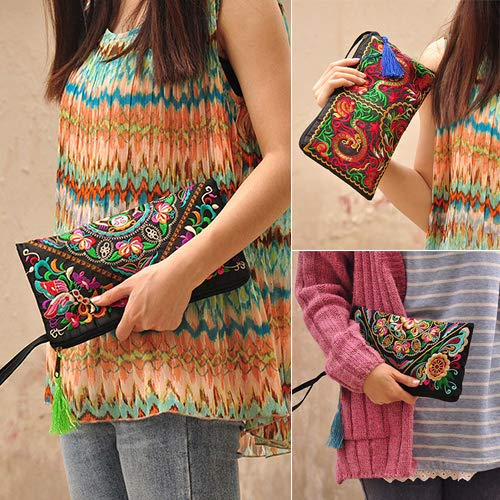 Flower Phone Bag LBOJA Butterfly Women's Holder Coin Ethnic Retro Double Card Dragons Embroider Clutch Wallet Purse vZf4vqw