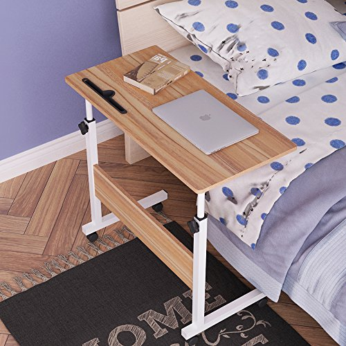DlandHome 31.4'' Large Size Mobile Side Table, Adjustable Movable w/ Tablet Slot & Wheels, Portable Laptop Stand for Bed Sofa, 05#3-80O Oak, 1 Pack by DlandHome (Image #4)