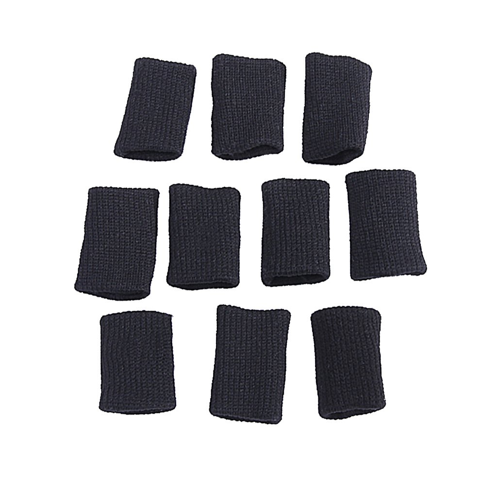 10Pcs Finger Sleeves Sport Support Protection for Volleyball Basketball Players--Black Generic SHOMPFL1455