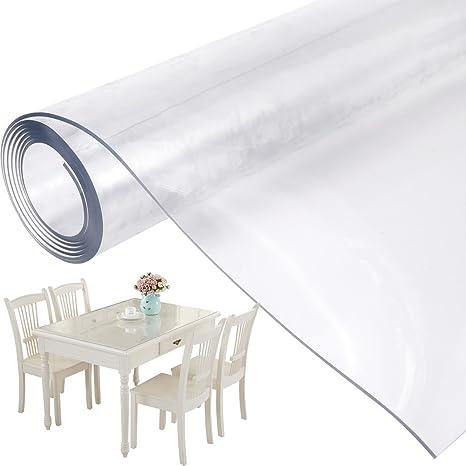 Mantel Transparente de PVC Plástico Grueso Impermeable para Mesa Cocina 155x90cm
