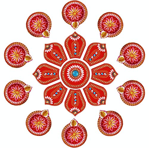Ramya Exclusive Combo Handcrafted Vibrant Rangoli a Set of 10 Handpainted Clay Diyas/Oil Lamps - Ideal Diwali/Christmas / Festival Decoration Gifting (7282A)