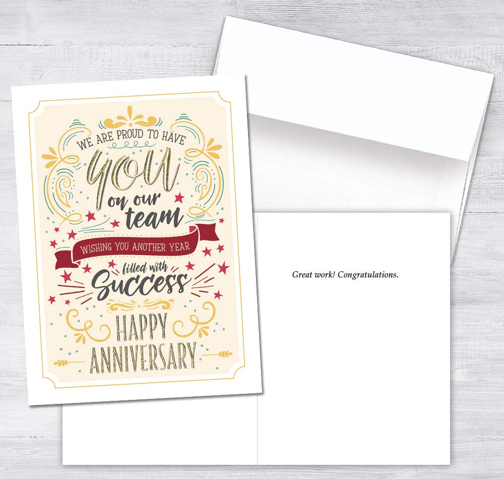 25 Employee Anniversary Cards - Modern Typographic Design - 26 White Envelopes - FSC Mix by Posty Cards