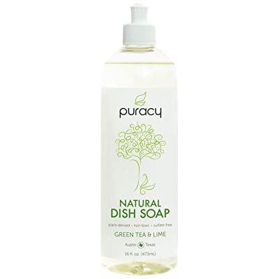 Puracy Dish Soap, Green Tea & Lime, Sulfate-Free, Natural Liquid Detergent