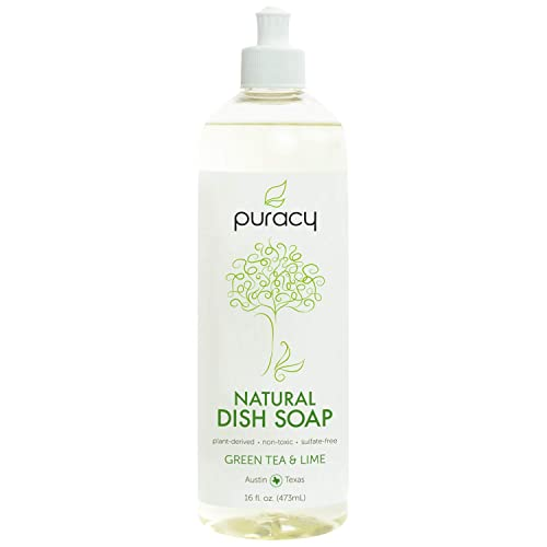 Puracy Natural Liquid Dish Soap, Sulfate-Free Dishwashing Detergent, Green Tea and Lime