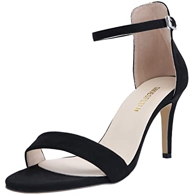 SHOESFEILD Women's Open Toe Strappy Stiletto High Heels for Women Dress Sandals   Sandals