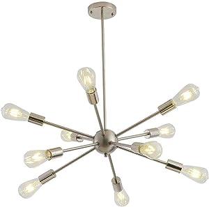 Sputnik Chandeliers 10 Lights Modern Pendant Lighting Industrial Vintage Ceiling Light Fixture, Nickel