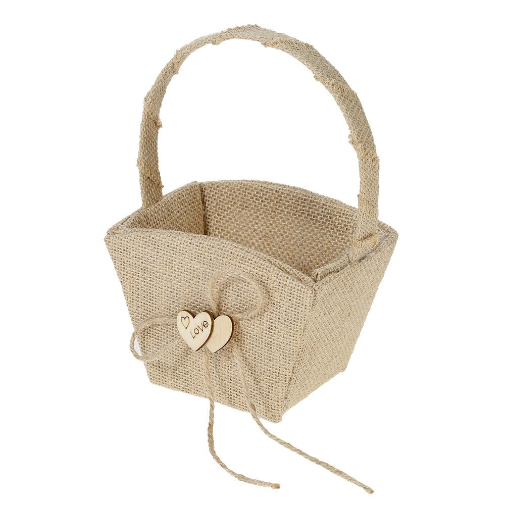 Yevison Vintage Rustic Wedding Burlap Flower Girl Basket with Wooden Heart Decoration Wedding Supplies Durable and Useful