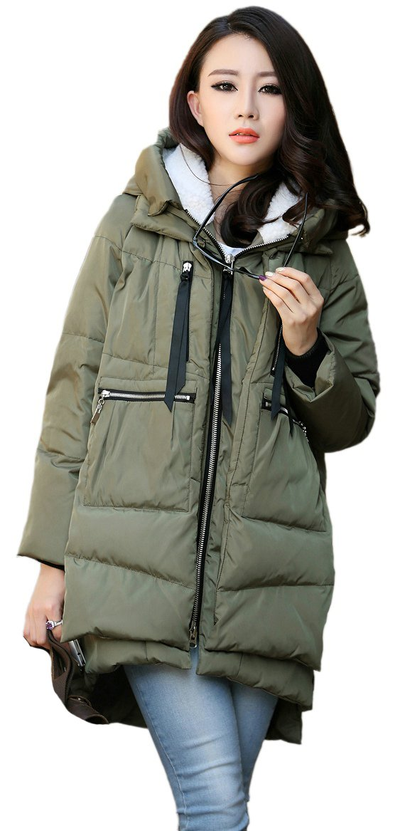 Orolay Women's Thickened Down Jacket Green L