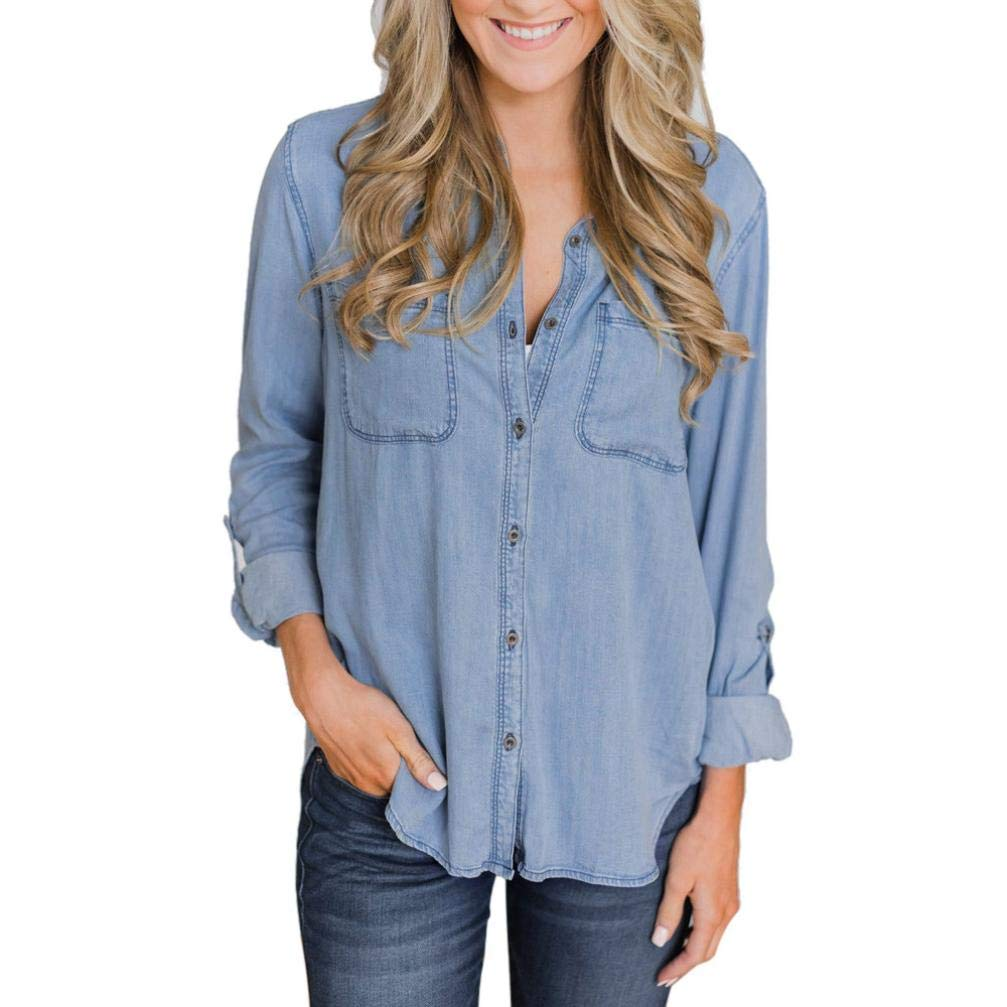 PLENTOP Women Casual Soft Denim Shirt Tops Blue Jean Button Long Sleeve Blouse Jacket 15.08