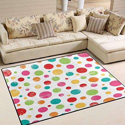 Cotton Polka Dot Rug (ALAZA Vintage Colorfl Polka Dot Area Rug Rugs Mat for Living Room Bedroom 7'x5')