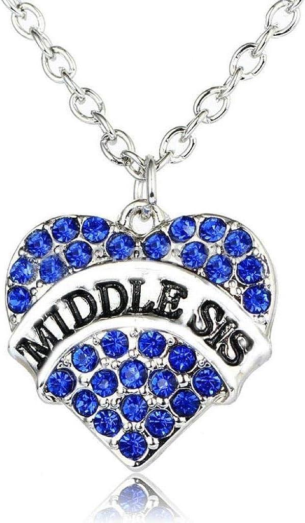 Tono Plateado Corazón De Color Azul Medio Hermana En Inglés Collar Colgante Grabado 2.0 x 2.0 cm Con 45cm Cadena Diamante De Imitación Amor Corazón Mamá Familia