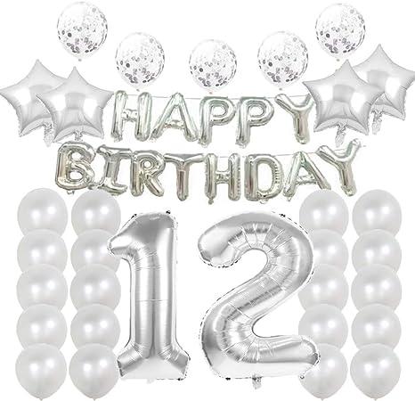 Amazon Com 12 Globos De Cumpleaños Para Decoración De Fiestas Color Plateado Número 12 Decoración De Globos De Látex Gran Regalo De Cumpleaños Para Niñas Accesorios De Fotos Home Kitchen