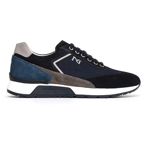 ea239338445c Nero Giardini Uomo Sneakers Blu (Indios) P800211U Scarpe in Camoscio  Primavera Estate 2018,