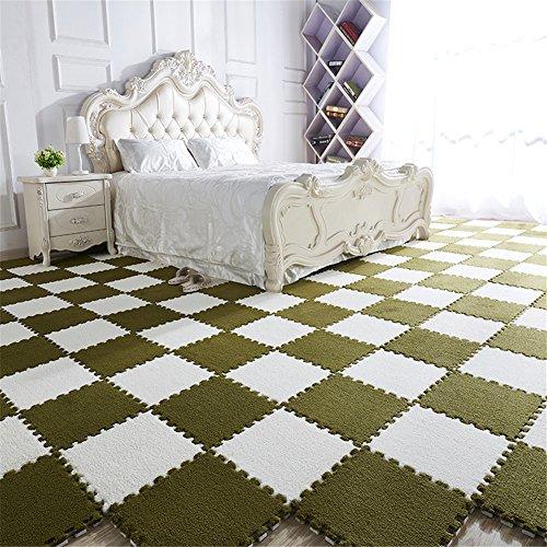 JQPQ EVA Foam Rugs Crawling Puzzle Floor Mats Modern Simple Carpet Bedroom Living Room,Green-White,8pcs