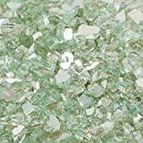 Margo Garden Products 1/2 in. 25 lb. Medium Aqua Reflective Tempered Fire Glass