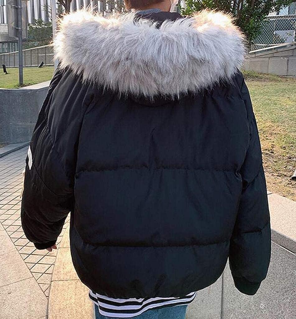 YYG Mens Full-Zip Thickened Winter Loose Faux Fur Hoodie Down Quilted Coat Jacket Overcoat