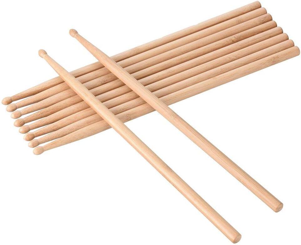 Siumir Drumsticks 5a Baqueta para Percusión Madera de Bamboo (Pack de 5 Pares)