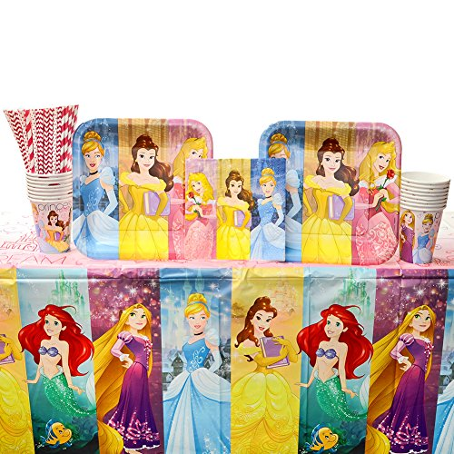 - Cedar Crate Market Disney Princess Dream Big Party Supplies Pack for 16 Guests: Straws, Dinner Plates, Luncheon Napkins, Table Cover, and Cups