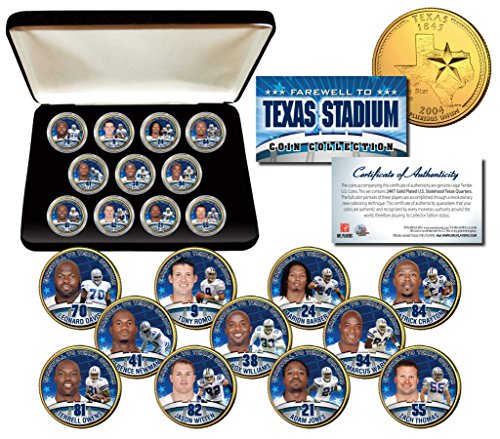 DALLAS COWBOYS Texas Stadium Farewell 11-Coin Set Quarters 24K Gold Plated w/Box