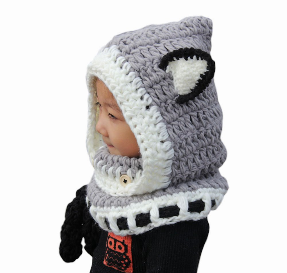 ABC® Winter Wool Knitted Fox Hats Baby Girls Hooded hawls Cowl Beanie Caps … (Gray) ABC®-2102