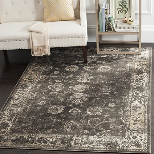 Safavieh Vintage Premium Collection VTG117-330 Transitional Oriental Soft Anthracite Distressed Silky Viscose Square Area Rug (8' Square) - Transitional 8' Square Rug