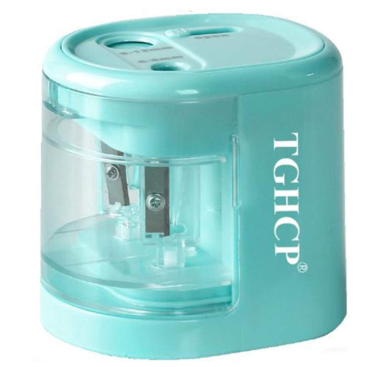 TGHCP Double Hole Electric Pencil Sharpener, Fast Sharpen Automatic Pencil Sharpener for 6-8MM & 9-12MM Diameter Pencils, USB/Battery Operated in School Classroom/Office/Home(Blue)