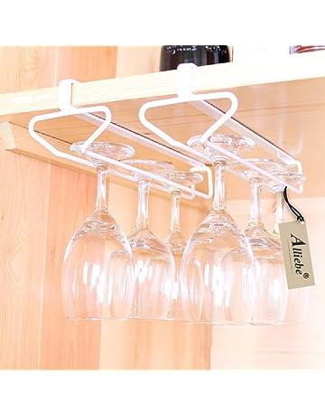 Alliebe copas Copa de vino de vidrio rack percha titular bajo gabinete estante almacenamiento sin perforación