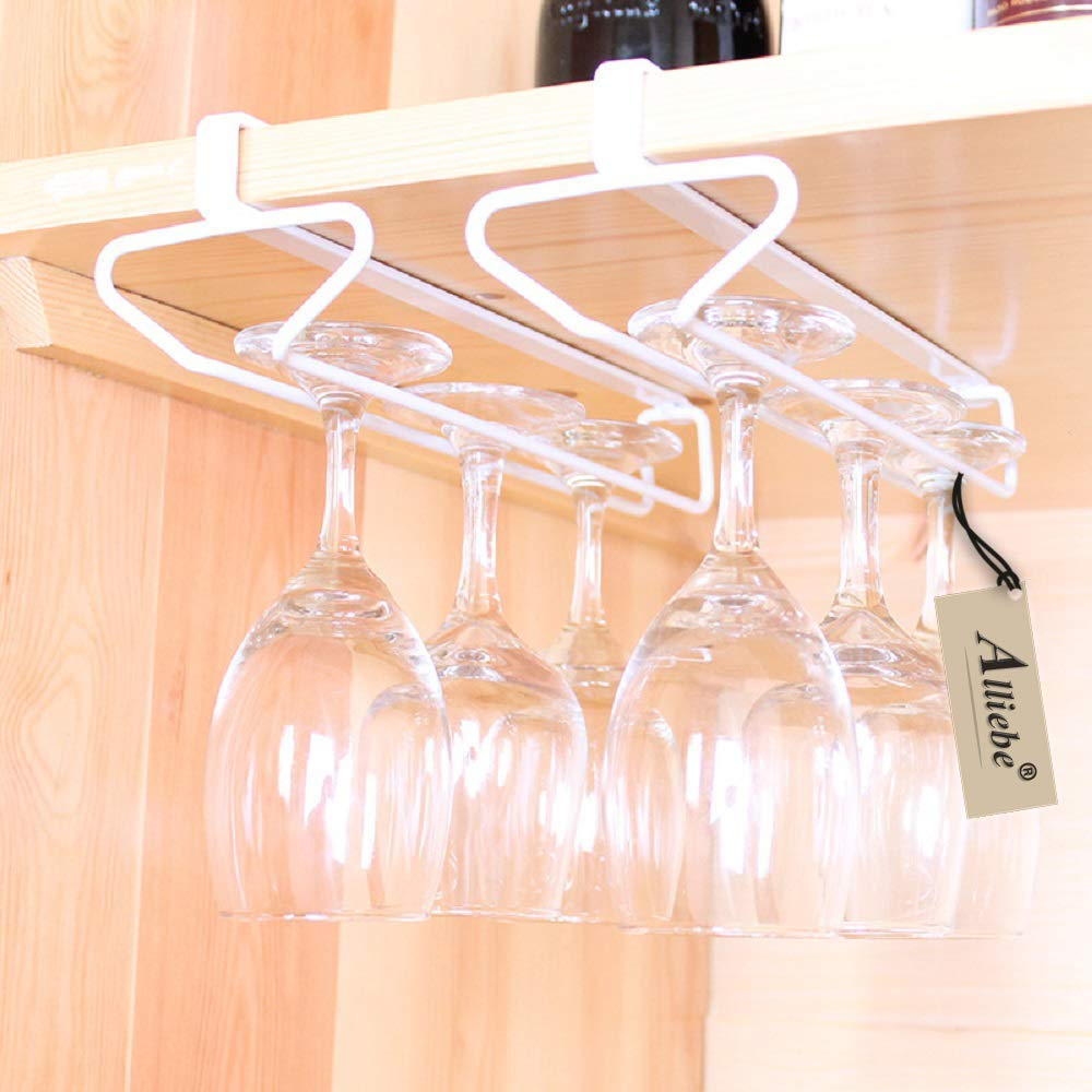 Alliebe Stemware Wine Glass Cup Rack Hanger Holder Under Cabinet Shelf Storage Without Drilling for Kitchen Set of 2