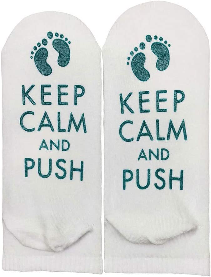 Youliy Funny Socks for Women Novelty,Letter Cotton Socks Labor Delivery Inspirational Push Maternity Hosiery Keep Calm and Push