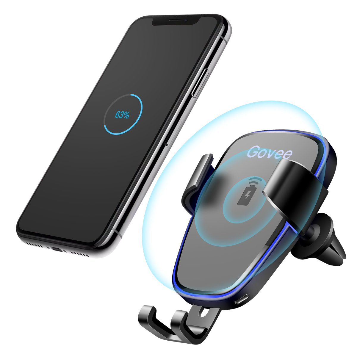 Wireless Car Charger, Govee Fast Charging Car Mount Kit Qi Gravity Vent Phone Holder for iPhone X, iPhone 8/8 plus, Samsung Galaxy S9/S9 plus/S8/S8 plus/S7, Note 8 by MINGERR