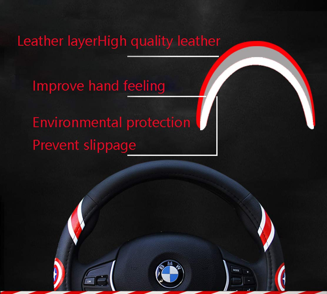 Steering Wheel Cover Cartoon Leather Four Seasons Universal Steering Wheel Cover Universal Size 37-39cm,Blue