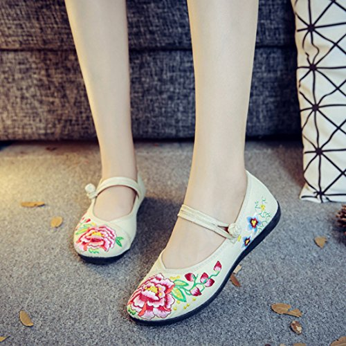 YIBLBOX Women's Ankle Strap Mary Jane Flats Shoes Rubber Sole Strappy Flower Embroidery Dress Shoes Beige iU539B