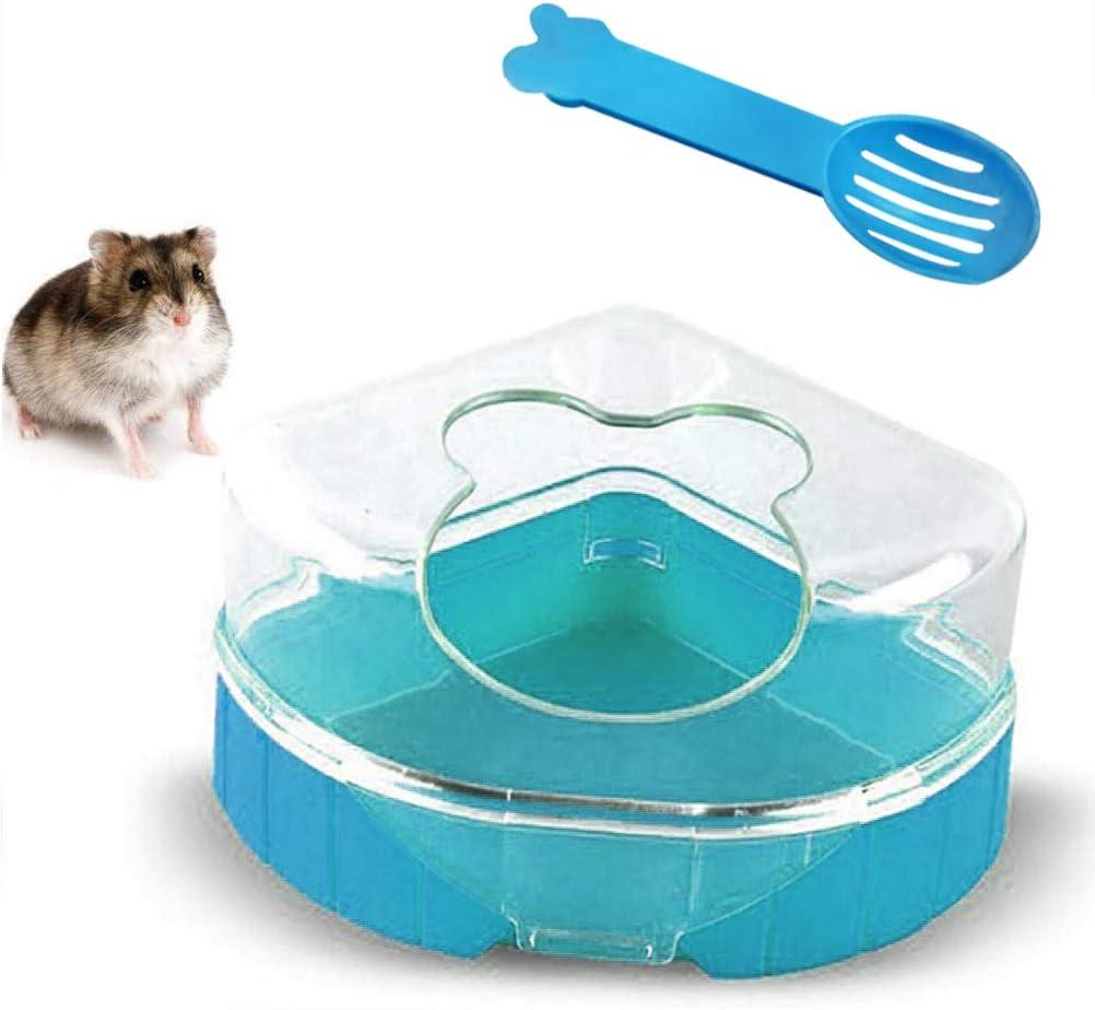 Ourine Hámster baño de plástico Arena seco baño contenedor de Arena Inodoro Caja de Arena con Cuchara para hámster Gerbil Rat
