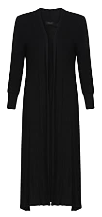 Forever Womens Long Sleeves Plain Boyfriend Long Open Maxi ...