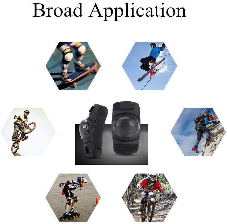 MJY 4 PCS Elbow and Knee Shin Protector Pads ATV Motorcycle Protection Guards Body Armor Set Black for Adults for Motorcycle Motocross Bike Skating Racing Protective Gear